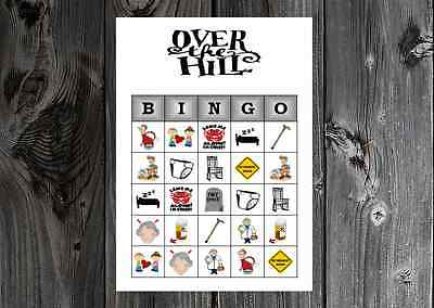 Over The Hill 40th 50th 60th Birthday Party Game Bingo On Card Stock 10 20