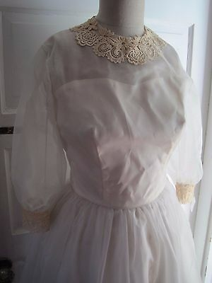 50s 60s Vintage Emma Domb Wedding Gown Floor Length Dress Tulle Lace XS S Ivory
