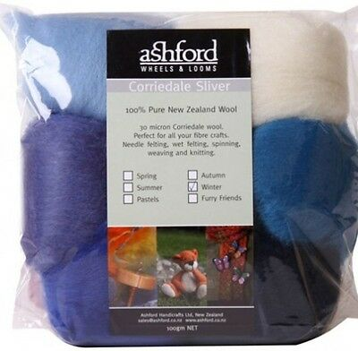 "FIBRE PACK  ""WINTER"" 7 colour pack of our popular 30 micron Corriedale BluePurpl"