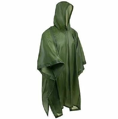 WATERPROOF VINYL PONCHO - OLIVE - One Sizes Fits All - lightweight - NEW