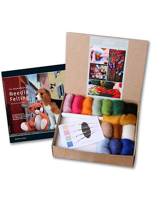 NEEDLE FELTING KIT New  - All you need in one box...  Book, fibres, needles...