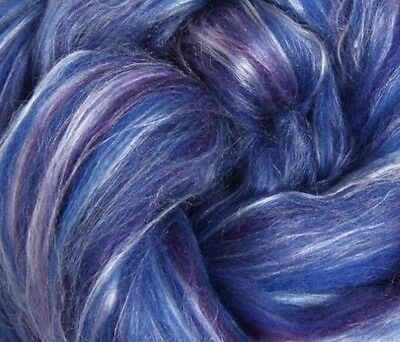 "SILK & MERINO Sliver blend by Ashford NZ ""DAMSON""  for spinning felting 100gms"