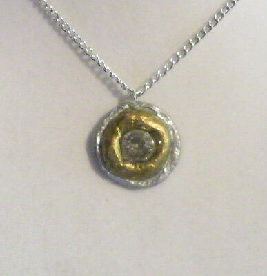 Silver and Gold Necklace, clay, pendant, round, painted circle circular handmade