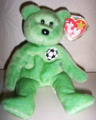 Excellent Condition Original Ty Beanie Baby Kicks The Bear  Rare With Errors