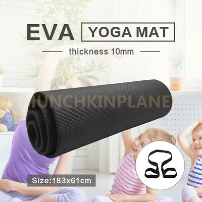 New Black EVA 10MM PILATES EXERCISE YOGA MAT PAD HOME GYM THICK PHYSIO FITNESS