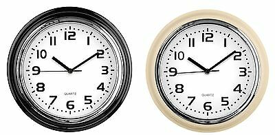 Ivory Round Wall Clock Black Numbers & Hands White Face Chrome Effect Plastic