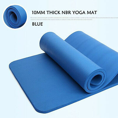 Thicken 10mm NBR Yoga Gym Mat Fitness Pad Pilates Fitness Blue with Carry Strip