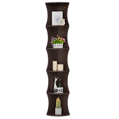 Corner Shelf Wall Shelves 5 Tier Storage Display Rack Stand Home Decor Bookcase