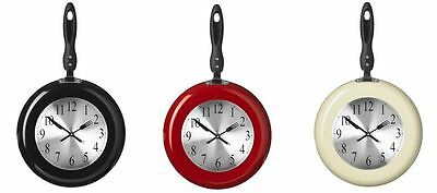 Kitchen Wall Clock Large Frying Pan Design Metal And Plastic in 3 Colours