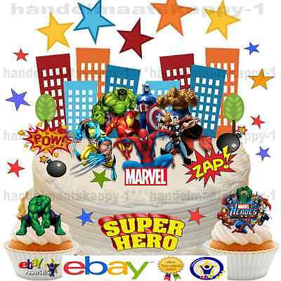 Edible SUPERHERO Hulk Spiderman Ironman WAFER SCENE Birthday Cake Cupcake Topper