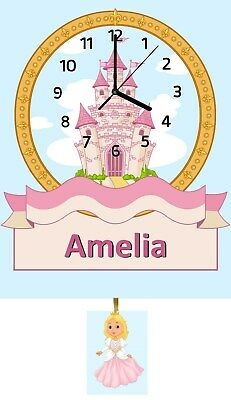 Personalised Castle Clock, Wall Clock, Pendulum Clock, Childrens Clock, Gifts
