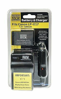 Premium Tech PT-LPE17 Battery and Charger for Canon T6i, T6s, SL2, T7i, 77D