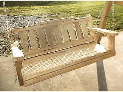 Porch Swing Treated Pine Wood 4'  Rolled Front Deck Patio Yard Furniture