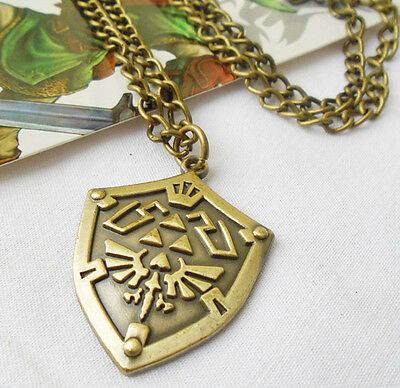 The Legend of Zelda Bronze Link Shield Necklace Pendant Hot