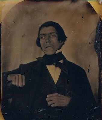 Macabre Post Mortem Ambrotype Photo Eyes Open Hands Clenched, Gaunt, Gothic Xmas