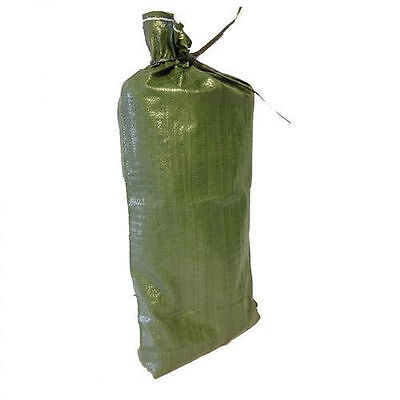 Green Sandbag w/ tie 14x26 Sandbag Bags Sand Bags Military Grade Flood Barriers