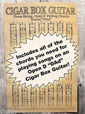"""Cigar Box Guitar Chords Poster - 3-string Open D """"DAD"""" + Blues Scale Diagram!"""
