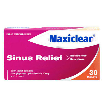 ツ Maxiclear Sinus Relief 30 Tablets For Blocked & Runny Noses