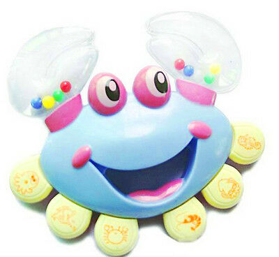 Plastic  Baby Kid Crab Toy Jingle Musical Educational Shaking Rattle Handbell YM