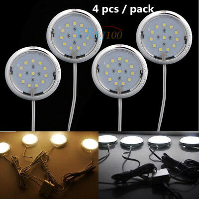 4pcs Kitchen LED Under Cabinet Counter Lighting Light Lamp Bulbs Cold/Warm White