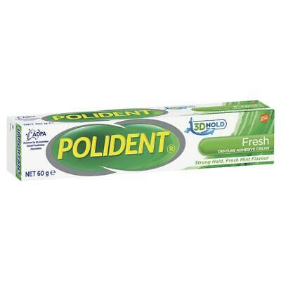 Polident Fresh Denture Adhesive Cream 60G Strong 3D Hold Mint Flavour
