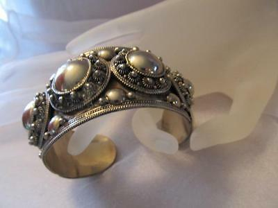 "Vintage Antique Huge Siam Sterling Silver Wide Cuff Bracelet ""Rare"""