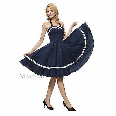 Maggie Tang 50s 60s VTG Pinup Nautical Sailor Rockabilly Swing Party Dress R-515