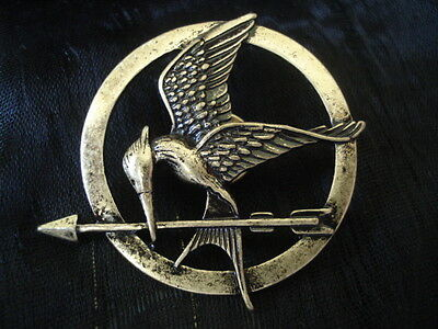 Hunger Games Mockingjay Pin Brooch Antique Gold Replica