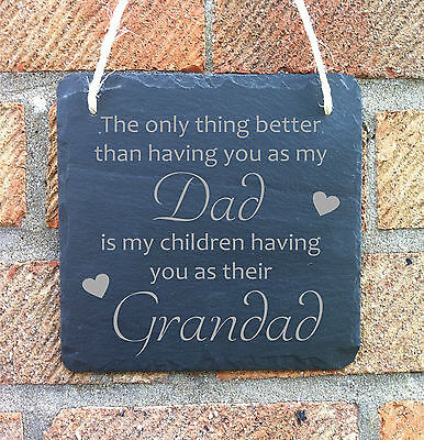 Personalised Fathers Day Gift For Him Dad Grandad Slate Hanging Plaque Sign