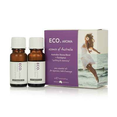 Eco. Aroma Australian Shores Essential Oil Duo Pack (2 x 10ml) Natural  NEW