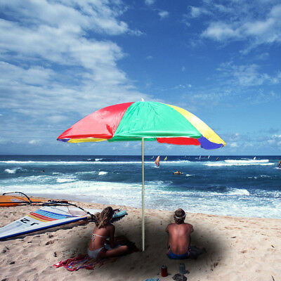 Popular 1.9m Outdoor Beach Umbrella Rainbow Adjustable Folding Steering Shade