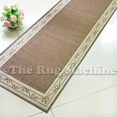 SUMMER INDOOR/OUTDOOR SCROLL BEIGE MODERN RUG RUNNER 80cm WIDE **ANY LENGTH**