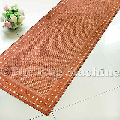 SUMMER INDOOR/OUTDOOR BORDER TERRA RED MODERN RUG RUNNER 67cm WIDE **ANY LENGTH*