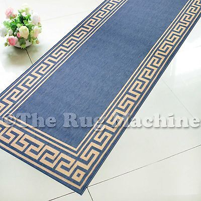SUMMER INDOOR/OUTDOOR GREEK KEY BLUE MODERN RUG RUNNER 67cm WIDE **ANY LENGTH**