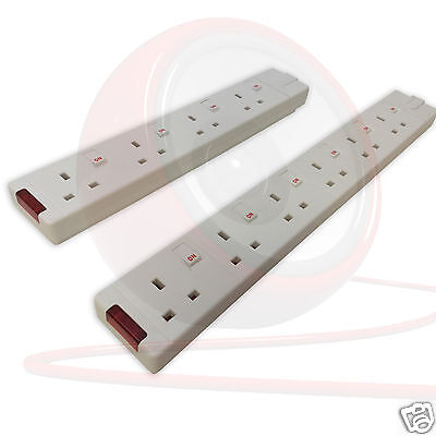 Permaplug 4 & 6 Gang White trailing Socket. Individually switched + Neon SWG4-MP