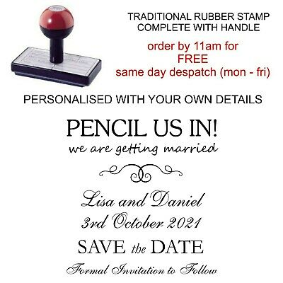 Personalised Pencil Us In Save The Date Wedding Invitation Rubber Stamp 11622