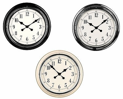Metal Wall Clock Chrome Finish Large Numbers/Blacks Hands & White Background