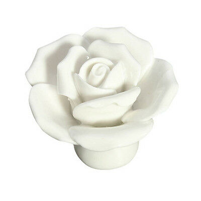 10pcs Vintage Rose Flower Ceramic Door Knobs Handle Drawer White  WW