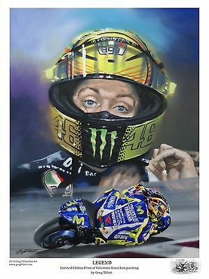 VALENTINO ROSSI A3 limited edition print signed by artist Greg Tillett MOTOGP