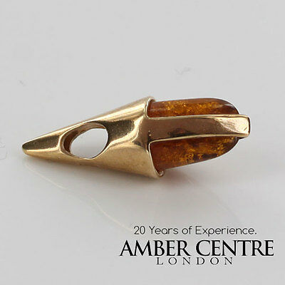 Italian Style Cognac Colour Baltic Amber Pendant in 9ct Gold -RRP£49.95 GP0241