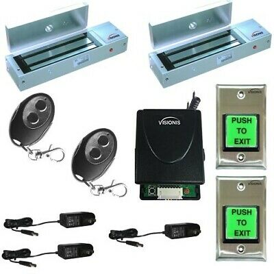 Visionis Two Door Maglock 1200lbs Access Control Kit Wireless Receiver Remote