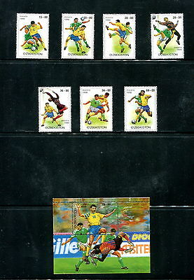 Uzbekistan  1999  #197-204  football soccer  set & sheet  MNH  E213