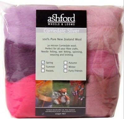 "FIBRE PACK  ""SPRING"" 7 colour pack of our popular 30 micron Corriedale PinkLilac"