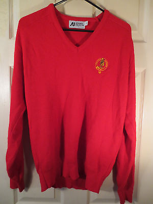 """Dewar's Scotch Whisky """"Never Varies"""" Red Sweater Size Large - see measurements"""