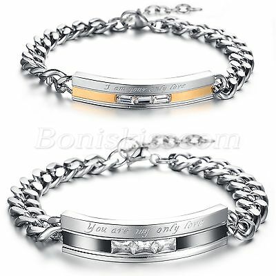 """Stainless Steel CZ Promise""""You are my only Love"""" Couples Bracelet Bangle Chain"""