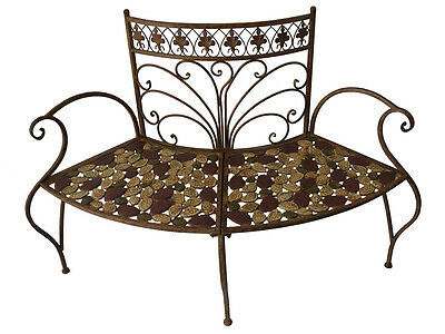 Baroque Garden Metal Bench Seater Half Circular Antique Mosaic Retro