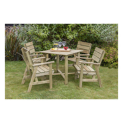 Lisa Dining Table 4 Chair Set Garden Furniture Outdoor Patio Pressure Treated