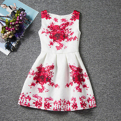 Flower Floral Sleeveless Baby Girls Toddler Kids Dress Casual Party Wedding 3-7Y