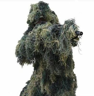 New Ghillie Suit Sniper Camo 3D Woodland Camouflage Forest Hunting 4-Piece + Bag