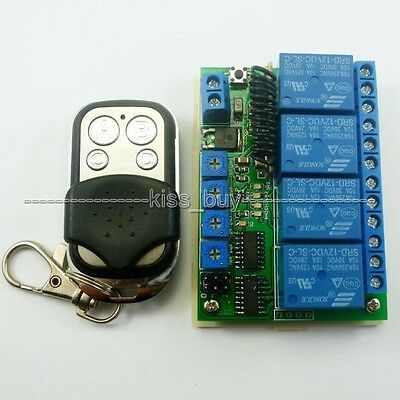 433MHZ dc 12V 4 CH Wireless Remote Switch RF Delay Time Timer Relay for Motor